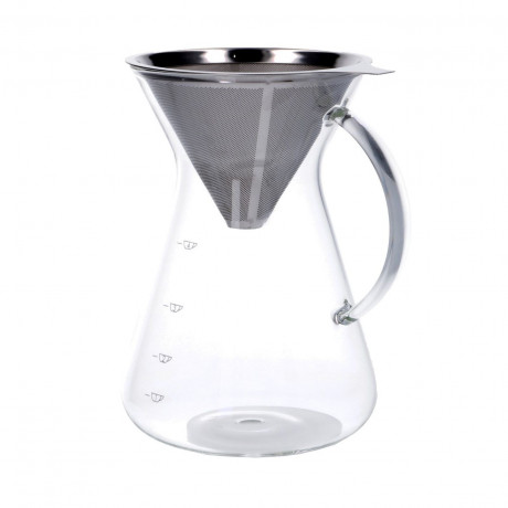 Koffiekan met filter, glas en RVS, 600 ml
