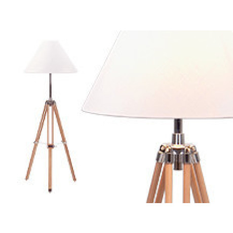 Navy driepoot staande lamp, naturel hout