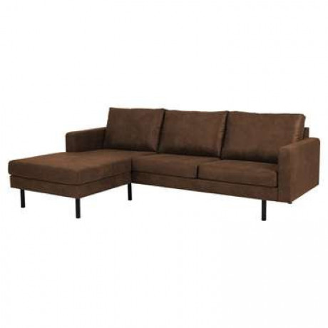 Hoekbank Collin chaise links stof Preston - camel - Leen Bakker