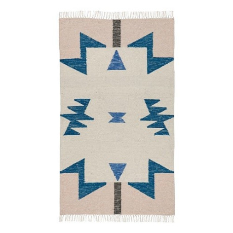 Ferm Licing Kelim Rug Blauwe Triangles - 80 x 140 cm