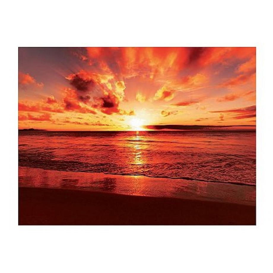 Glazen artprint, Artland, 'Beautiful tropical sunset on the beach', in 2 afmetingen, vanaf afm. 60x80 cm afbeelding