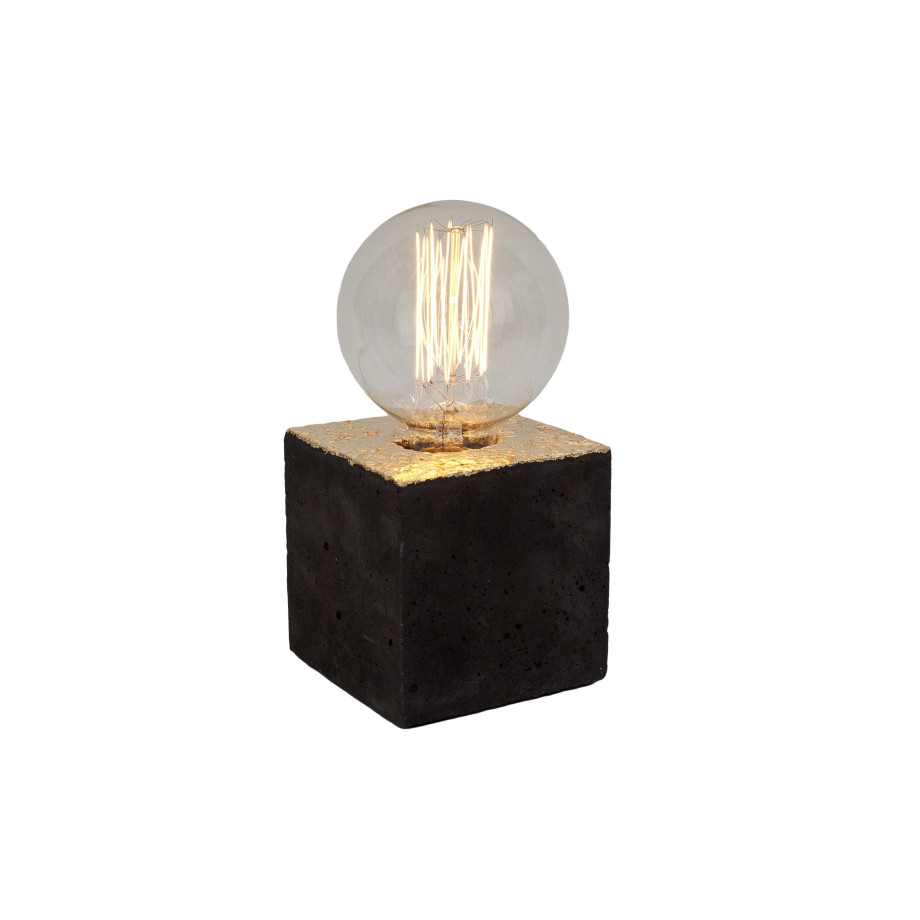 Alpha black gold concrete table lamp - gold cable afbeelding