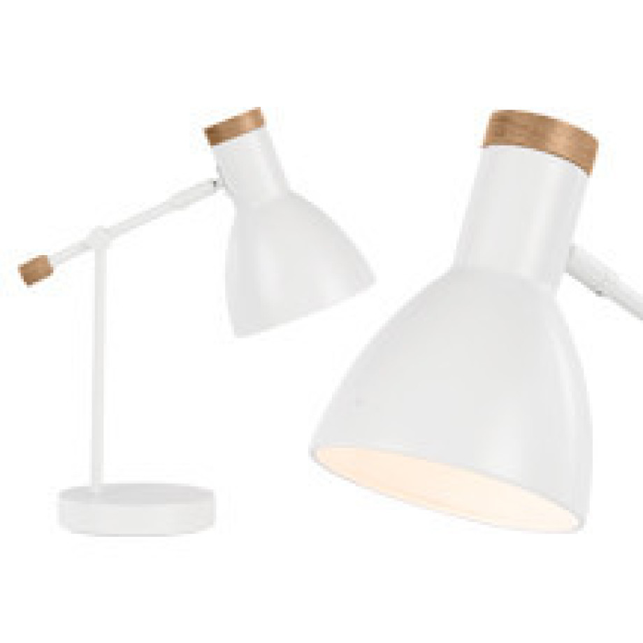 Cohen nachtkast lamp wit wit licht hout made com for Nachtkast lamp