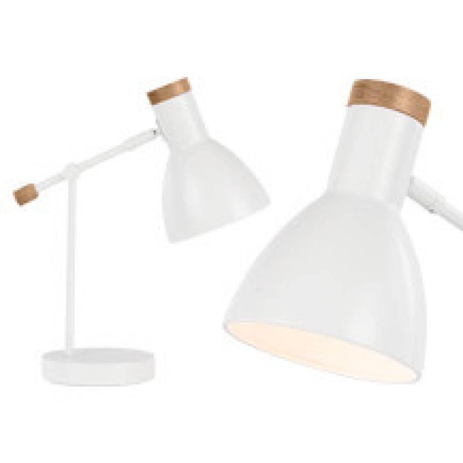 Cohen nachtkast lamp wit wit licht hout made com for Nachtkast lampje