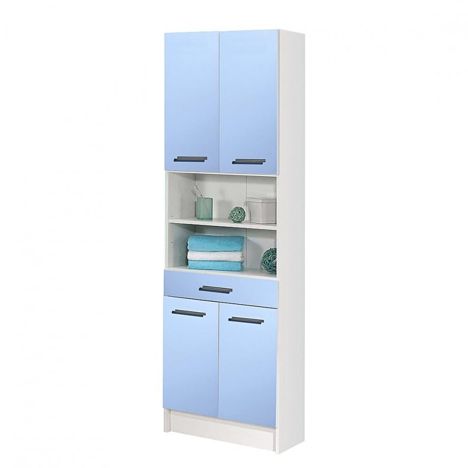 Hoge badkamerkast ottawa blauw plaatmateriaal for Hoge badkamerkast
