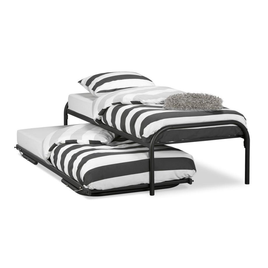Bed onderschuifbed duet zwart - Bed na capitonne zwarte ...