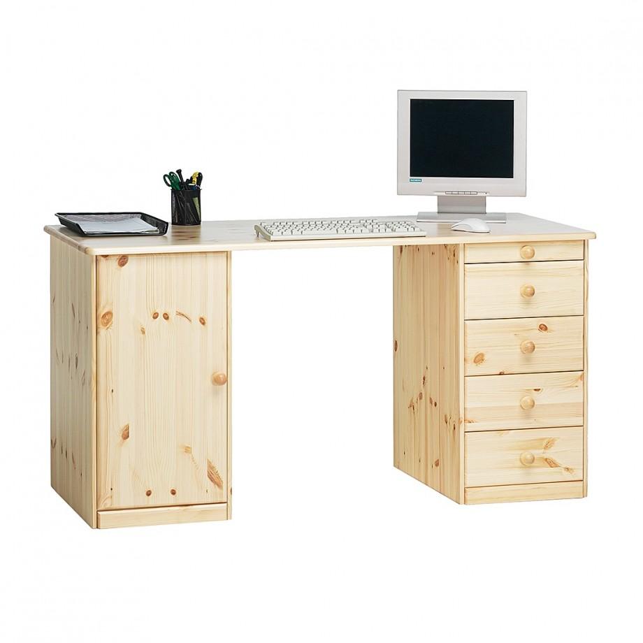 Bureau phillina i beige bruin massief hout steens for Schreibtisch kiefer lackiert