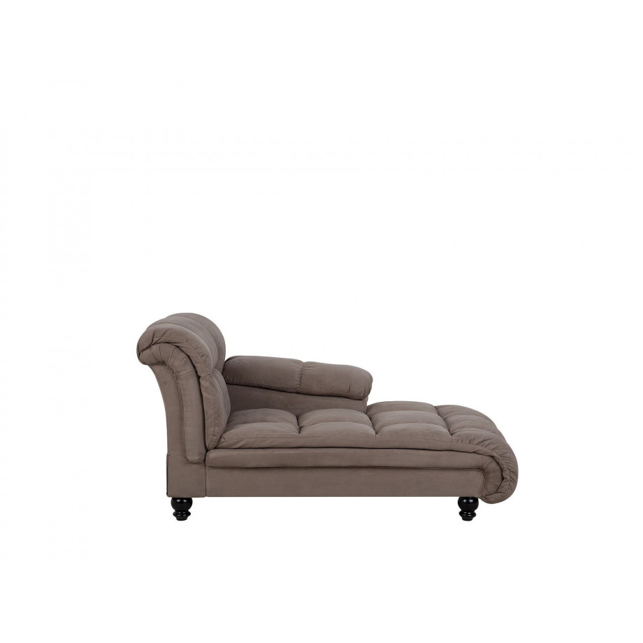 Chaise longue taupe linkszijdig LORMONT afbeelding