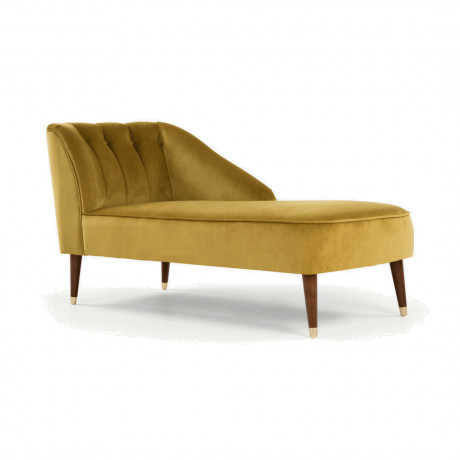 Margot chaise longue met leuning links, antiekgoud fluweel