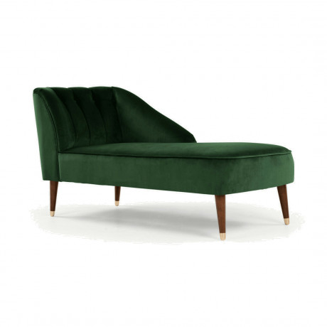 Margot chaise longue met leuning links, bosgroen fluweel