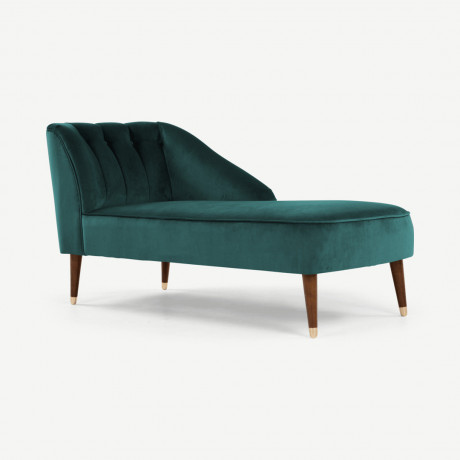Margot chaise longue met leuning links, pauwblauw fluweel