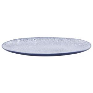 HEMA Schaal Ovaal 30cm Porto Reactief Glazuur Wit/blauw
