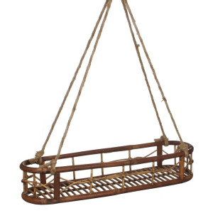 Mica Decorations Lazy Dienblad Rattan Hangend Bruin - 78 x 19 cm