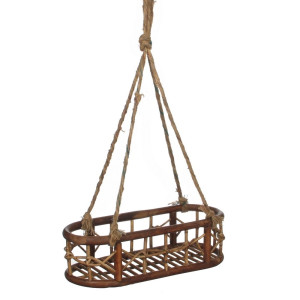 Mica Decorations Lazy Dienblad Rattan Hangend Bruin - 49 x 19 cm