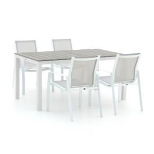 R&S Design Altea/Fidenza 160cm dining tuinset 5-delig stapelbaar - Laagste prijsgarantie!