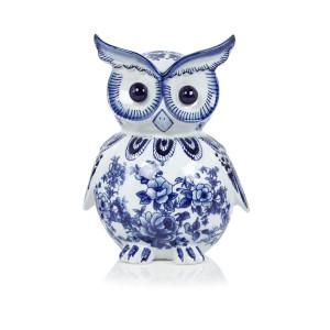 Pols Potten Spaarpot Uil in Delfts blauw