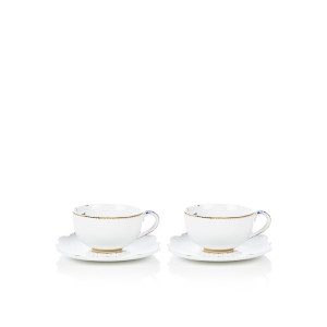 Pip Studio Royal White espressokopje en schotel 12,5 cl set van 2