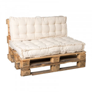Luxe palletkussen - naturel - set van 2