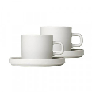 Blomus Koffie Kop & Schotel Pilare Moonbeam 20 cl)(2 sets)