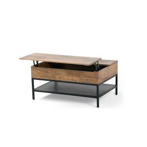 Lomond uitklapbare salontafel met opbergruimte, mangohout en zwart