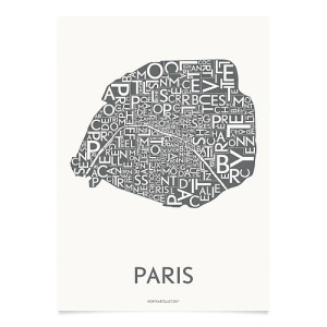 Kortkartellet Poster Paris Neighborhoods Charcoal Grijs - 50 x 70 cm