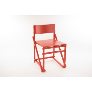 24mm Construct dining chair. - Coral red