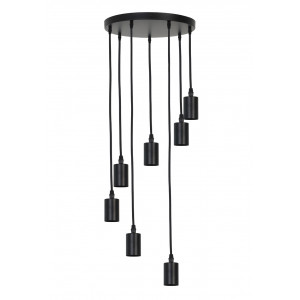 Light & Living Hanglamp 'Brandon' 7-Lamps, mat zwart