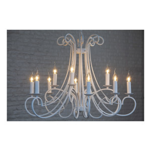 Light & Living Kroonluchter 'Chantelle' 12-Lamps, kleur wit