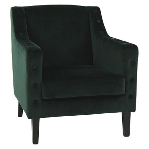 Pomax Almo Fauteuil Velours/Hout 78 x 66 cm - Donkergroen/Zwart