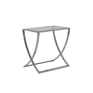Light & Living Side-table 'Molina', glas+nikkel