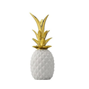 Bloomingville Ornament Ananas 24 cm - Wit/Goud