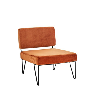 Madam Stoltz Loungestoel Velvet/Ijzer 65 x 76 x 76 cm - Burned Orange/Zwart