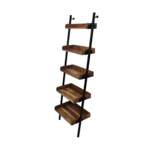 HSM Collection decoratieve ladder Hayo - zwart/naturel - 60x35x180 cm - Leen Bakker