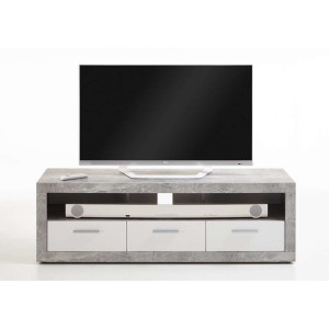 Tv-meubel Leiston - betonkleur/wit - 49x152x45,3 cm - Leen Bakker