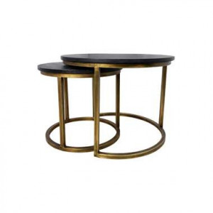HSM Collection salontafel Finnley rond (2 stuks) - zwart/goud - Leen Bakker