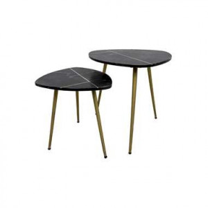 HSM Collection salontafel Lena (2 stuks) - zwart/goud - Leen Bakker