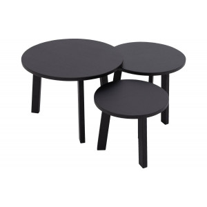 Goossens Basic Salontafel Xem rond, grenen zwart, stijlvol landelijk, 60 x 43 x 60 cm