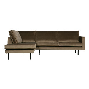 BePureHome Hoekbank 'Rodeo' Links, Velvet, kleur Taupe