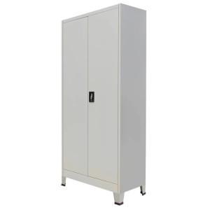 vidaXL Kantoorkast met 2 deuren staal 90x40x180 cm grijs