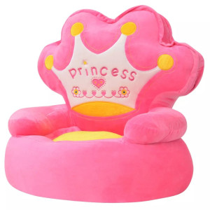 vidaXL Kinderstoel prinses pluche roze