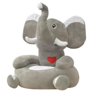 vidaXL Kinderstoel olifant pluche grijs