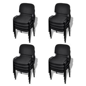 vidaXL Stapelbare kantoorstoelen 16 stuks stof zwart