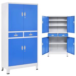 vidaXL Kantoorkast met 4 deuren 90x40x180 cm metaal grijs en blauw
