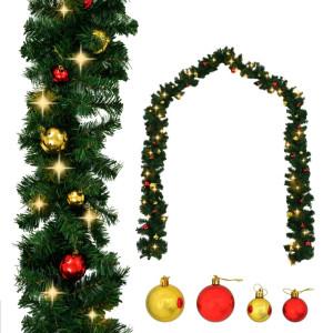 vidaXL Kerstslinger versierd met kerstballen en LED-lampjes 20 m