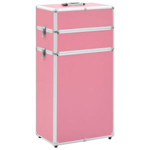 vidaXL Make-up trolley aluminium roze