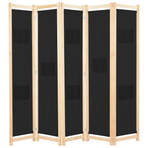 vidaXL Kamerscherm met 5 panelen 200x170x4 cm stof zwart