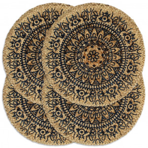 vidaXL Placemats 4 st rond 38 cm jute donkerblauw