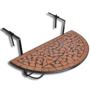 vidaXL Balkontafel hangend mozaïek terracotta half-rond
