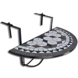 vidaXL Balkontafel hangend mozaïek zwart-wit half-rond