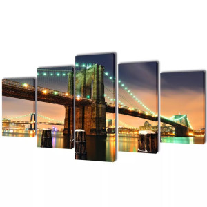vidaXL Canvasdoeken Brooklyn Bridge 100 x 50 cm